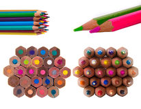 Multicolour pencils set isolated on a white background. Colour pencils set isolated on a white background, color pencils shavings Royalty Free Stock Image