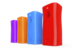 Multicolour Plastic Automatic Air Fresheners. 3d Rendering. Multicolour Plastic Automatic Air Fresheners on a white background. 3d Rendering Stock Photo