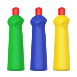 Multicolour Plastic Bottles for Liquid Detergent. 3d Rendering Royalty Free Stock Photography