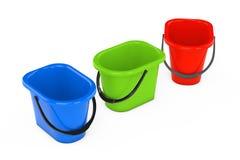 Multicolour Plastic Buckets. 3d Rendering Stock Images