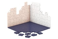 Multicolour Puzzle Wall and Floor Construction Royalty Free Stock Photo