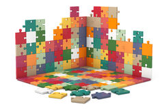 Multicolour Puzzle Wall and Floor Construction Royalty Free Stock Image
