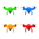 Multicolour Quadrocopter Drones with Photo Camera. 3d Rendering Stock Photo