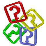 Multicolour question marks. The abstract question marks. Symbol of problems Stock Photos