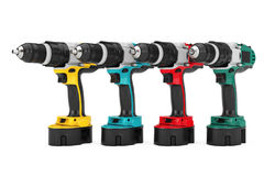 Multicolour Rechargeable and Cordless Drills Set. 3d Rendering Stock Photo
