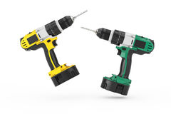 Multicolour Rechargeable and Cordless Drills Set. 3d Rendering. Multicolour Rechargeable and Cordless Drills Set on a white background. 3d Rendering Royalty Free Stock Image