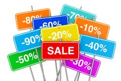 Multicolour Sale Placards with Many Percent Discounts. 3d Render Royalty Free Stock Photo