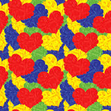 Multicolour seamless floral pattern with hearts Stock Image