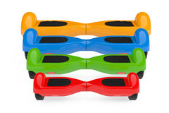 Multicolour Self Balancing Electric Scooters. 3d Rendering Stock Photography