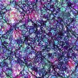 Scattered Gem and Sequin Print with Mermaid Scales. Multicolour sequins and gems create this abstract sparkle background print, with mermaid scales overlay Royalty Free Stock Photos