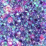 Scattered Gem and Sequin Print. Multicolour sequins and gems create this abstract sparkle background print Stock Photos