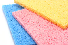 Multicolour Sponges. Three brightly coloured kitchen sponges Royalty Free Stock Photography