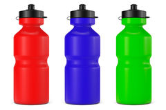 Multicolour Sport Plastic Water Bottles. On a white background Stock Photos