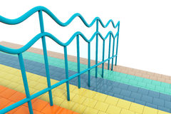 Multicolour stair with handrails Royalty Free Stock Photo