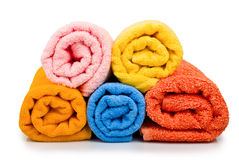 Multicolour towels rolls Royalty Free Stock Photos