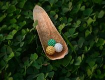 Multicolour toy balls with natural background photograph. The beautiful and unique capture of multicolour toy balls with green plants background stock photograph stock photo