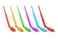 Multicolour Wireless USB 3G, 4G Modems. 3d Rendering Stock Photography