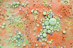 Multicoloured abstract bubbles. Colourful and beautiful effect of water paint and oil mixing. Multicoloured abstract bubbles Stock Image