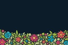 Multicoloured background with cute flowers and copyspace. Spring background. stock images