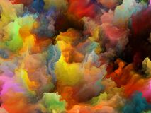 Multicoloured Canvas. Turbulent Colorful paint series. Thick clouds of color on theme of art, creativity and design stock illustration