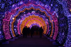 Multicoloured Christmas tunnel in Moscow. Multicoloured Christmas tunnel illumination in Moscow Royalty Free Stock Photography