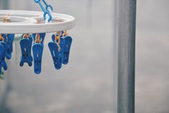 Multicoloured clothespins on the clothesline. Colourful pegs. selective focus Stock Photography