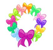 Multicoloured Cute Bows Wreath stock photos