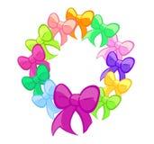 Multicoloured Cute Bows Wreath Stock Photos