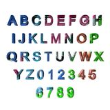 Multicoloured 3D letters / alphabet / numbers Royalty Free Stock Images