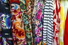 Multicoloured fabric display. Stock Photos