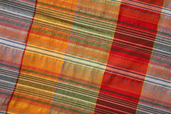 Multicoloured fabric with geometric pattern Royalty Free Stock Photo