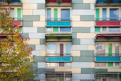 A block of flats in Southwark, London. Multicoloured facade of a block of flats in Southwark, London stock images