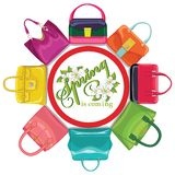 Multicoloured fashion womens handbag  Stock Photography