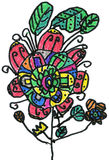 Multicoloured flower, children's hand painted picture Royalty Free Stock Image