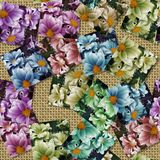 Multicoloured flower image generated seamless texture Stock Photo