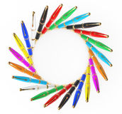 Multicoloured Fountain Writing Pens. 3d Rendering Stock Photography