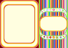 Multicoloured frame with lines and flowers Royalty Free Stock Photo
