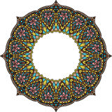 Multicoloured frame mandala. Design element in the Indian style isolated on white background. Stock Photography