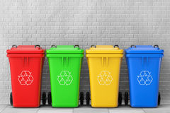 Multicoloured Garbage Trash Bins. 3d Rendering Stock Photos