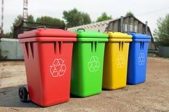 Multicoloured Garbage Trash Bins Stock Photo