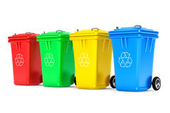 Multicoloured Garbage Trash Bins Stock Image