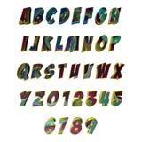 Multicoloured gevormde 3D brieven/alfabet/aantallen Stock Foto