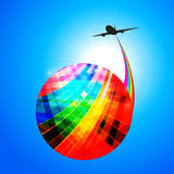 Multicoloured globe with airplane silhouette and rainbow Royalty Free Stock Image