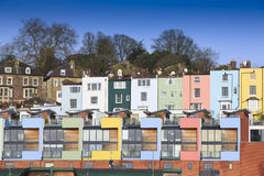 Multicoloured houses in Bristol. A mix of multicoloured houses in Bristol, on the banks of the floating harbour Stock Photos