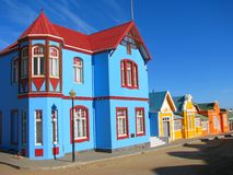 Multicoloured houses in Luderitz Stock Photography