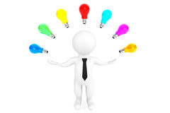 Multicoloured Idea bulbs around 3d person. On a white background Royalty Free Stock Image