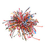 Multicoloured knots. Bunch of multi-coloured cords with knots isolated on white background Royalty Free Stock Photography