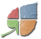 Multicoloured leaf. Stylized, divided and multi coloured leaf (even Steven). Some symbol of four seasons of the year stock photography