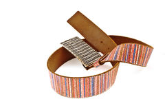 Multicoloured leather belt with big steel buckle Stock Image