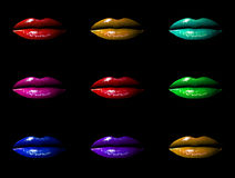 Multicoloured Lips Stock Images